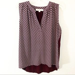 Loft Small Tank Sleeveless Tunic Burgundy Maroon